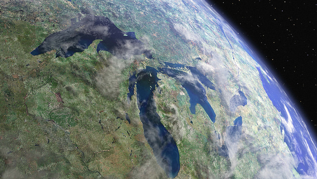 Algae Bloom in Michigan's Saginaw Bay Seen from Space